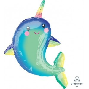 Baby Shower - General SuperShape XL Happy Narwhal Shaped Balloon