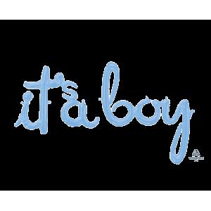 Baby Shower - General Pastel Blue CI: Script Phrase Shaped Balloon