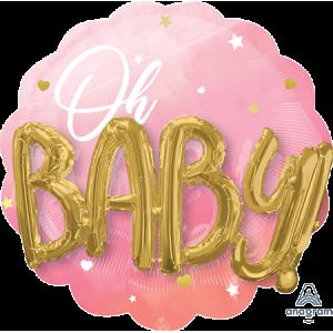 Oh Baby Girl Pink Multi-Balloon Shaped Balloon