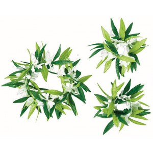 Green Leaf with Flowers Head Wreath & Wristlets Set Costume Accessories