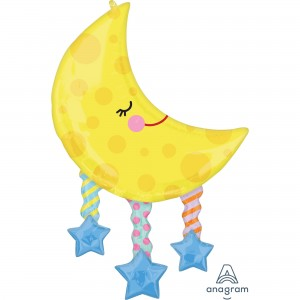 Baby Shower - General SuperShape XL Moon and Stars Shaped Balloon