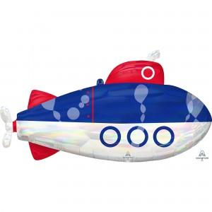 Iridescent SuperShape Holographic  Submarine Shaped Balloon
