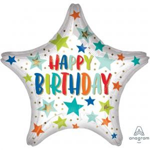 Happy Birthday Standard XL Stars & Dots Foil Balloon