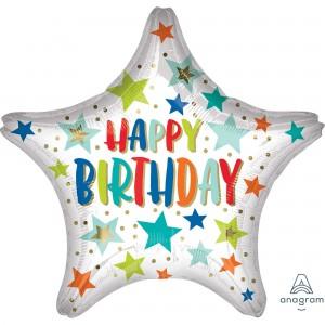 Happy Birthday Jumbo HX Stars & Dots Shaped Balloon