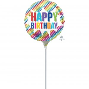 Happy Birthday Striped Burst Foil Balloon