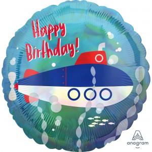 Iridescent Standard Holographic  Submarine Foil Balloon