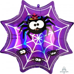 Halloween SuperShape Holographic Iridescent Spiderweb & Spiders Shaped Balloon