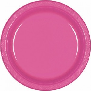 Pink Bright Plastic Dinner Plates