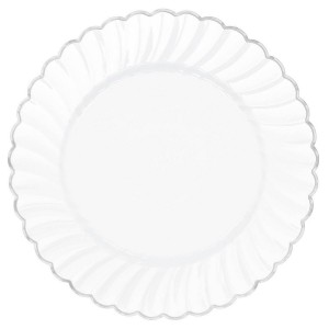 Silver White with  Trim Premium Scalloped Dinner Plates