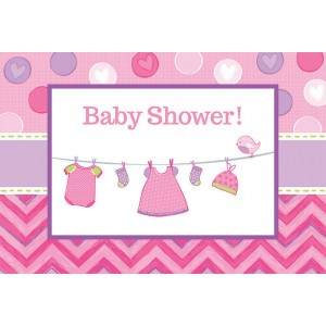 Shower with Love Girl Postcard Invitations
