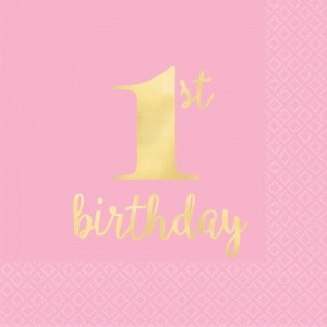 Girl's 1st Birthday Pink Hot Stamped Beverage Napkins