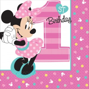 Minnie Mouse 1st Birthday Fun To Be One Beverage Napkins