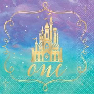 Disney Princess Once Upon A Time 1st Birthday Beverage Napkins