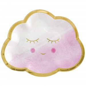 Oh Baby Girl Metallic Shaped Lunch Plates