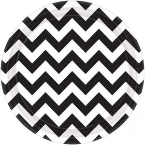 Chevron Design Jet Black Paper Dinner Plates