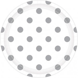 Dots Frosty White with Silver Dinner Plates