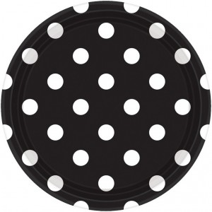 Dots Jet Black with White Dinner Plates