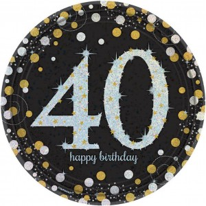 40th Birthday Black, Gold & Silver Sparkling Celebration Prismatic Dinner Plates