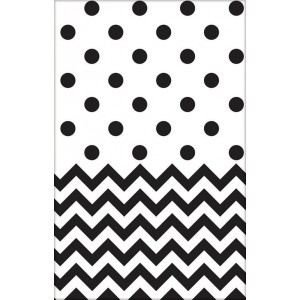 Chevron Design Jet Black  Plastic Table Cover