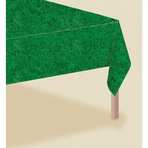 Green Grass Look Plastic Table Cover