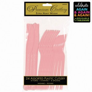Pink New Premium Reusable Extra Heavy Weight Cutlery Sets