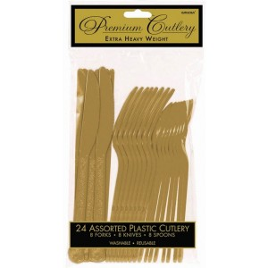 Gold Premium Heavy Weight Plastic Cutlery Sets