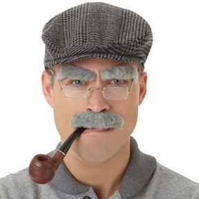 Grey Old Man Facial Hair Set Head Accessorie