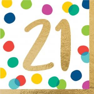 21st Birthday Happy Dots Lunch Napkins