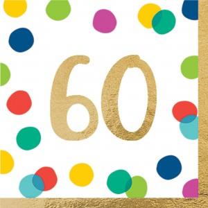 60th Birthday Happy Dots Lunch Napkins