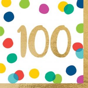 100th Birthday Happy Dots Lunch Napkins