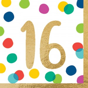 16th Birthday Happy Dots Lunch Napkins