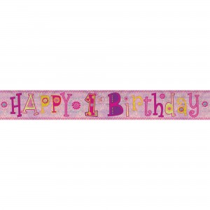 Girl's 1st Birthday Banner