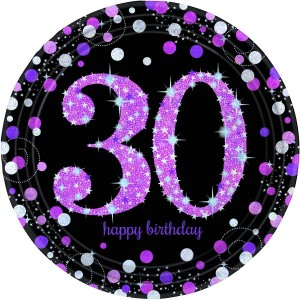 30th Birthday Pink Celebration Prismatic Dinner Plates