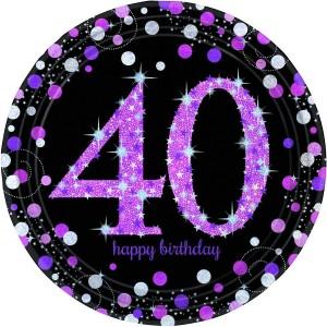 40th Birthday Pink Celebration Prismatic Dinner Plates