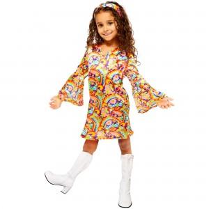 Hippie Chick Red, Orange, Yellow  Child Costume