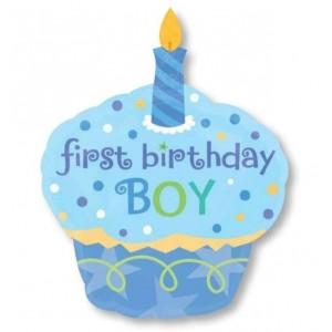 Sweet Cupcake 1st Birthday Boy SuperShape XL Shaped Balloon