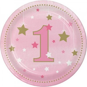 Girl One Little Star Paper Lunch Plates