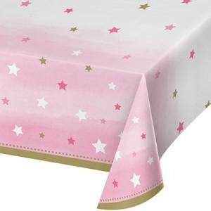 Girl One Little Star Plastic Table Cover