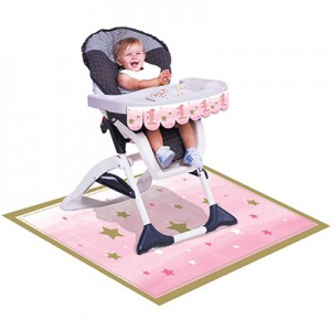 Girl One Little Star Pink High Chair Decorating Kit