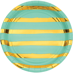 Stripes Fresh Mint Green & Gold Touch of Colour Dinner Plates