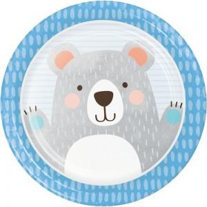 1st Birthday Bear Paper Dinner Plates