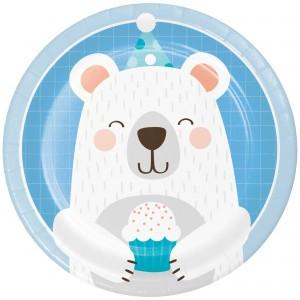 1st Birthday Bear Paper Lunch Plates