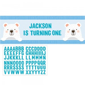 1st Birthday Bear Giant Personalize It Banner