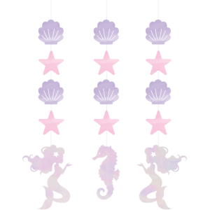 Mermaid Shine Iridescent String Cutout Hanging Decorations