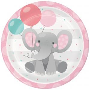 Girl Enchanting Elephant Paper Dinner Plates