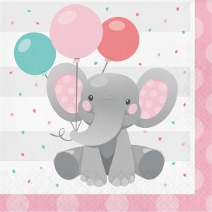 Girl Enchanting Elephant Lunch Napkins