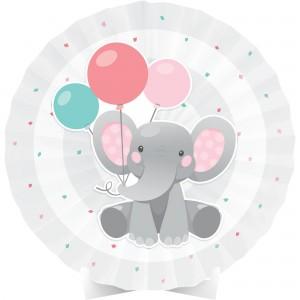 Girl Enchanting Elephant Paper Fan Centrepiece
