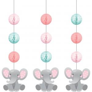 Girl Enchanting Elephant Honeycomb & Cutouts Hanging Decorations