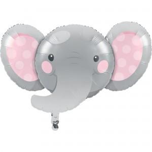 Girl Enchanting Elephant Foil Shaped Balloon