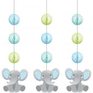 Boy Enchanting Elephant Honeycomb & Cutouts Hanging Decorations